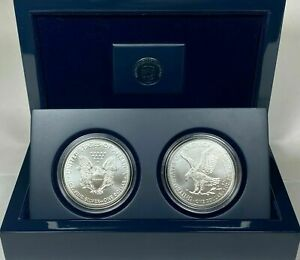 2021 American Silver Eagle Type 1 and Type 2 in US Mint Display Case Bu Unc--