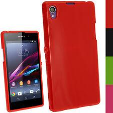 Rot TPU Gel Case Tasche Hülle Cover für Sony Xperia Z1 Honami L39H + Schutzfolie