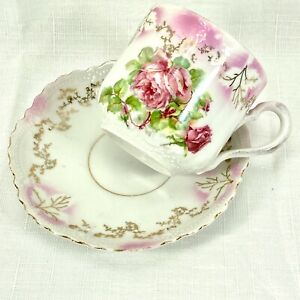 Antique LEUGHTENBERG GERMANY White & Pink Floral Teacup & Saucer c.1895-1920