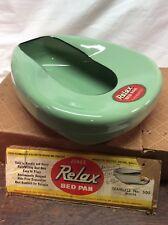 Antique Jones Relax Enamel Bedpan Jadite Mint Green Outstanding Condition w Box
