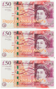 £50 x 3 Notes printed on Premium Edible Icing sheet Personalized Cake toppers