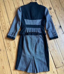 KAREN MILLEN grey & black wool blend pleat back suit, skirt UK 8 jacket UK 10
