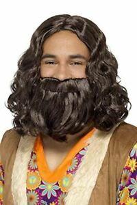 Adult Hippie/Jesus Wig & Beard Set Fancy Dress Party Costume