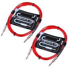 2 Pcs Red Guitar Amp Cable Lead Cord 10ft for Fender Accessory