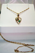 """18K Gold Deep Forest-Green Chrome Diopside Heart Pendant & 14K 16"""" Sparkle Chain"""