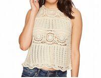 ASTR Womens Knit Tank Top Beige Size Small S Crewneck Crochet Solid $49 345