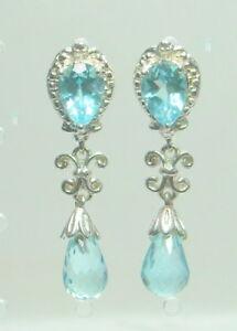 5.50 ct Natural Blue Topaz Earrings Platinum / .925