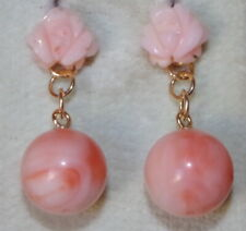 ITALY MEDIUM SIZE 14K ANGEL SKIN CORAL ROSE  STUD W 11MM CORAL JACKETS EARRINGS
