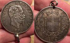 VITTORIO EMANUELE II 5 Lire 1875 Roma segno di zecca piccolo, particolarita'