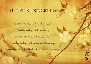 The Reiki Principles A4 Laminated Mini Poster - Reiki, Chakra, New Age V.04