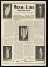1910 Michael Elliot dancer photo vintage trade booking ad