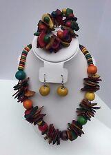 Necklace, Bracelet & Earring Set Handcrafted African (Ghana) Coconut Wood