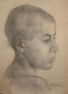 Antique pencil drawing boy signed