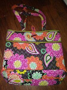 Vera Bradley  Floral Paisley orange pink blackTote Beach Bag Large Summer EUC