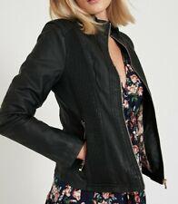 Caroline Morgan Jacket Black SIZE 10 Medium Leather Look Waterfall Lined
