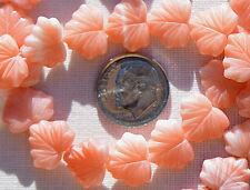(10) Czech Glass 13x11mm Maple Leaf Beads-Pink White Silk Mix CRJ200514