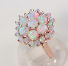 HUGE ENGLISH 9K ROSE GOLD FIERY OPAL 25 STONE CLUSTER ART DECO INS RING FREE Sz