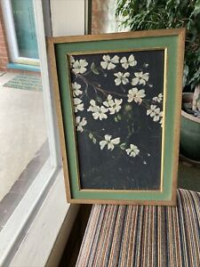 """Vintage 1966 Signed Framed Floral Oil Painting on Canvas Board, 12"""" By 16"""""""