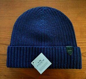 NWT * 86553 * Coach Rib Knit 100% Wool Beanie Hat Navy Blue