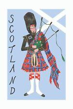 GLEN APPIN SCOTLAND Scottish Saltire Piper Kitchen Tea Towel