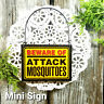 DECOWords Mini Sign Beware of ATTACK Mosquito Door Hanger Gag Wood Ornament