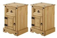 Corona 1 Door Bedside Table Cabinet Pot Cupboard Solid Pine x2 Mercers Furniture
