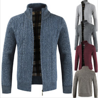 Men's Sweater Winter Warm Thicken Zipper Cardigan Solid Casual Knitwear Coat Top