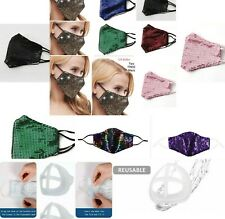 Bling sequin sparkle face mask 2 Pm Filter + mask bracket support+ other Lot