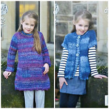 KNITTING PATTERN Girls Easy Knit Dress/Tunic & Cardigan Chunky 4666 King Cole