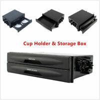 Universal Car Truck Double Din Radio Pocket Drink-Cup Holder Storage Box  &