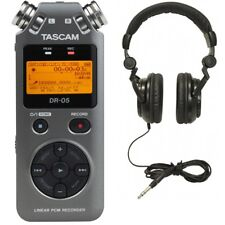 Tascam DR-05 V2 Handheld PCM Digital Recorder Grey + TH-02B Headphones Black