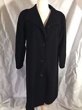Vintage 1980s 80s Black Wool Overcoat Car Coat Size Large L