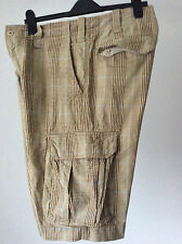 "H&M ~ thick heavy cotton loose fit cargo shorts Prince of Wales check ~34""WX13""L"