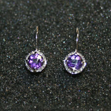 Round Purple Amethyst 16 Round Diamonds Leverback Earrings Solid 10k White Gold