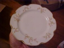 "8.5"" PLATE TINY PINK FLOWERS & GOLD TRIM DOUBLE MARKED HAVILAND LIMOGES FRANCE"