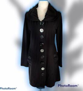 Neon Buddha Black Peace Jacket Large Upstyle Buttons Mid-Length Medium