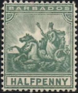 Barbados 1905  Edward VII  1/2d Green  SG.136 Mint (Hinged)     Faults
