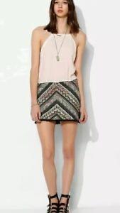 Anthropologie STARING AT STARS Skirt Bohemian Chevron Print Mini Sz Small NEW