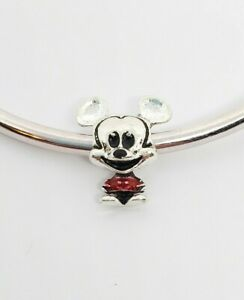 Silver Red Disney Mickey Mouse Charm For European Style Charm Bracelets
