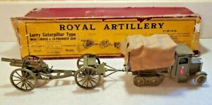 Vintage W.Britians Royal Artillery Lorry Caterpillar Type With Limber & 18 Pound