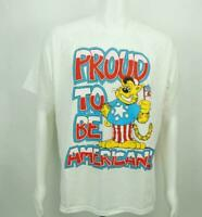 Vintage Proud To Be An American Short Sleeve Shirt White Large Made in USA