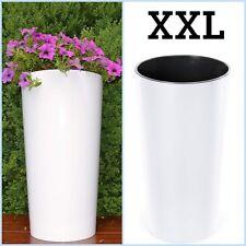 Blumenkübel Hochglanz Rund Blumentopf Übertopf Pflanzkübel XXL (H:75cm) weiß
