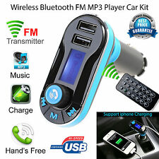 2 USB Car Cigarette Lighter Charger Transmitter MP3 Player FM TF AUX w R Control