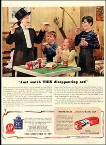 1942 WW2 era AD A&P MARVEL BREAD , Kids magic show with orange marmalade  01220