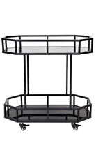 Stainless steel black framed drinks trolley two mirrored shelve BlackTrolley