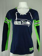 Seattle Seahawks NFL Majestic Women's Lace Up T-Shirt