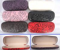 C12 Metal Hard Reading Glasses Case/Rose Pattern Design & PVC Faux Leather Cover
