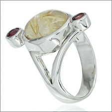5.0ct Rutilated Quartz & Tourmaline In Sterling Silver 3-Stone Ring #91044