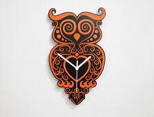 Orange Owl Tribal -  Wall Clock