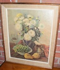 Vintage Wood Framed Print Grapes Floral Vase Pears A Cameo Creation